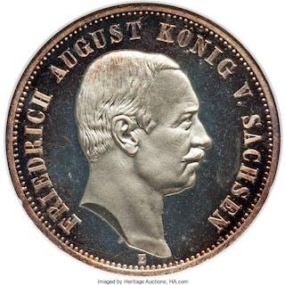 Saxony. Friedrich August III Proof 3 Mark 1913-E PR66 Ultra Cameo NGC,...