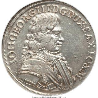 Saxony. Johann Georg III 2/3 Taler 1682-CF MS63 NGC,...