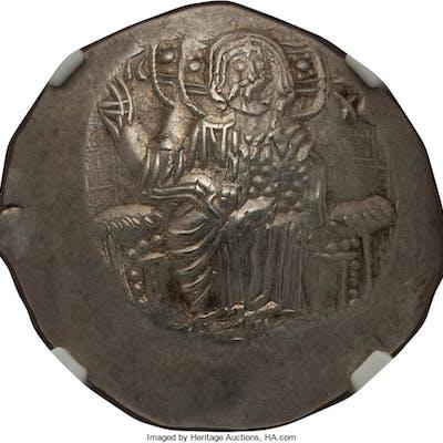 Alexius III Angelus Comnenus (AD 1195-1203). EL aspron trachy (28mm