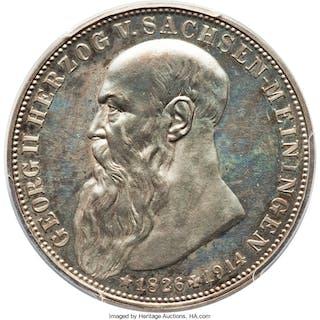 Saxe-Meiningen. Georg II Proof 3 Mark 1915 PR65 Cameo PCGS,...
