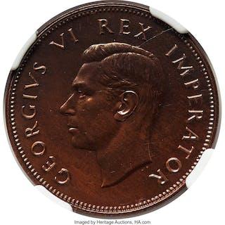 George VI Proof 1/2 Penny 1945 PR66 Brown NGC,...
