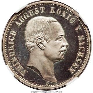 Saxony. Friedrich August III Proof 3 Mark 1910-E PR65 Ultra Cameo NGC,...