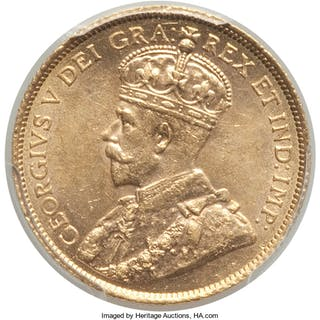 George V gold 5 Dollars 1914 MS63 PCGS,...