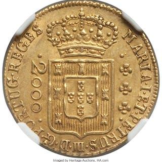 Maria I & Pedro III gold 2000 Reis 1778-(L) MS62 NGC,...