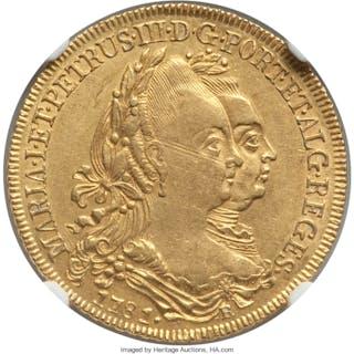 Maria I & Pedro III gold 6400 Reis 1781-R AU58 NGC,...