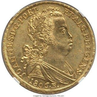 João Prince Regent gold 6400 Reis 1806-R UNC Details (Cleaned) NGC,...