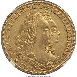 Maria I & Pedro III gold 6400 Reis 1780-R AU55 NGC,...