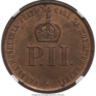 "Pedro II bronze ""New Brazilian Mint Press"" Medalet 1876-Dated MS63"
