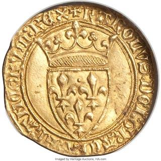 Charles VI gold Ecu d'Or a la couronne ND (1380-1422) MS62 NGC,...