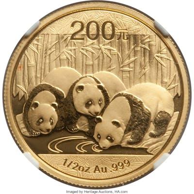 People's Republic gold Panda 200 Yuan (1/2 oz) 2013 MS69 NGC,...