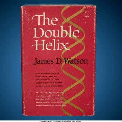 James Watson Signed Book with DNA Sketch The Double Helix First Edition  ...