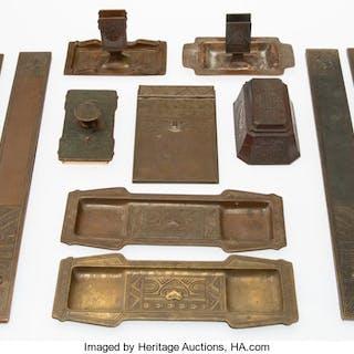 Eleven Tiffany Studios Bronze Desk Articles, circa 1915 Marks: TIFFANY