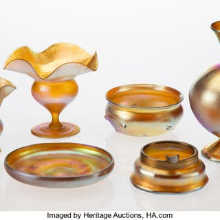 Six Tiffany Studios Gold Favrile Glass Table Articles, circa 1910