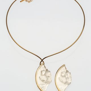 A Lalique Frosted Glass and Vermeil Acrobate Necklace and Brooch Suite