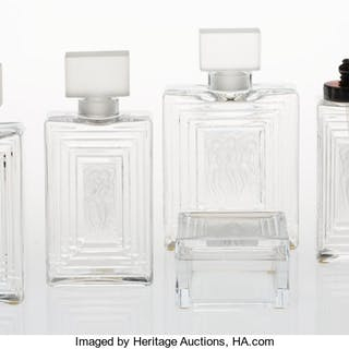 A Group of Five Lalique Clear and Frosted Glass Duncan Items, late