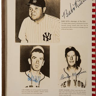 "1945 Babe Ruth, Ty Cobb, Mel Ott, & Carl Hubbell Multi-Signed ""Esquire's"