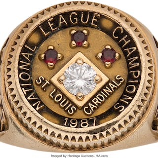 1987 St. Louis Cardinals National Champions Ring Presented to Buddy Bates.