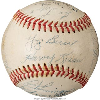 1953 Baseball Greats Multi-Signed Baseball from Tour of Asia.