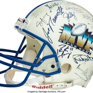 Super Bowl MVPs Multi-Signed Helmet with Martin, Brady, Rodgers and Others.