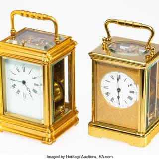 Two French Brass and Beveled Glass Carriage Clocks, early 20th century