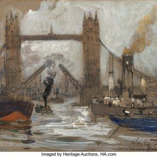 Hayley R. Lever (American, 1876-1958) Tower Bridge London Watercolor