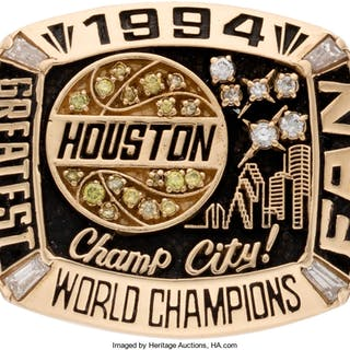 """1994 Houston Rockets NBA Championship Ring Presented to Their """"Greatest Fan."""""""
