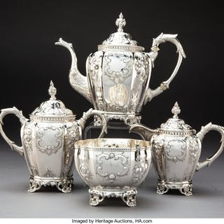 A Four-Piece Squire & Brother Coin Silver Tea Service, New York, 1845-1853