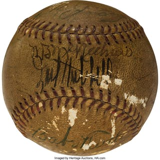 Circa 1938 Babe Ruth Multi-Signed Baseball with Other Hall of Famers.
