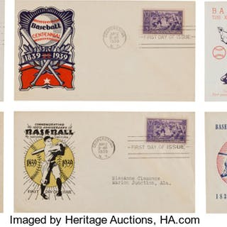 1939 Baseball Centennial First Day Covers Lot of 28.