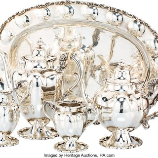 A Five-Piece Mexican Silver Tea and Coffee Service Retailed by Eddie's