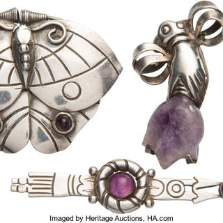 A Group of Four William Spratling Silver and Amethyst Brooches, Taxco