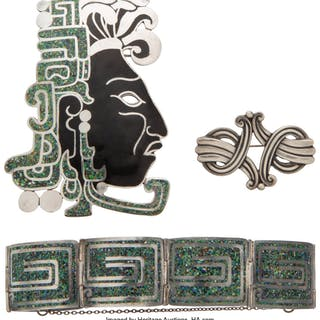 A Group of Three Margot de Taxco Silver Jewelry Pieces, Taxco, Mexico