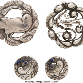 A Group of Georg Jensen Silver Jewelry with Lapis Cabochons Designed