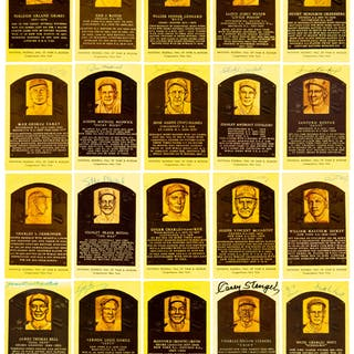 Baseball Hall of Fame Signed Plaque Postcard Lot of 62.