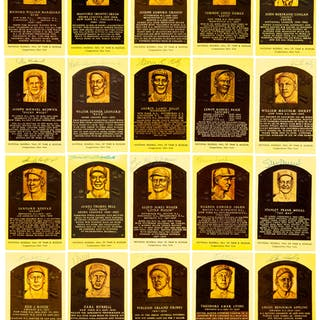 Baseball Hall of Fame Signed Plaque Postcard Lot of 65.