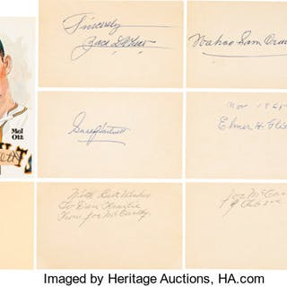 1960's-90's Hall of Famers Signed Index Cards & Perez-Steele Postcards