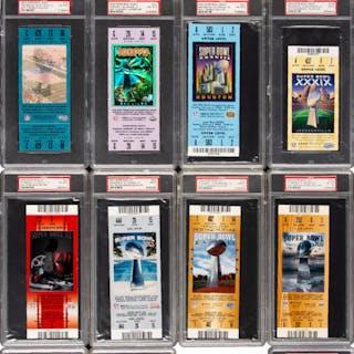 1973-2013 Super Bowl Full Tickets Lot of 37, PSA Graded (36).