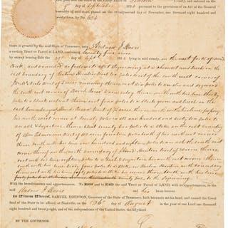 Sam Houston Land Grant Signed ...