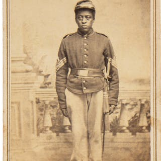 Black Soldier Luther Hubbard Carte de Visite with Additional Tintypes