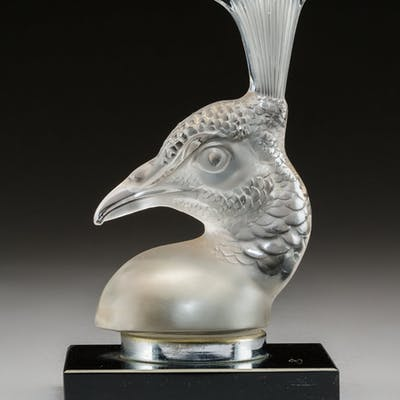 R. Lalique Tête de Paon Clear and Frosted Glass Automobile Mascot
