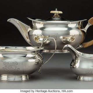 A Three-Piece Robert I and Samuel Hennell Silver Tea Set, London