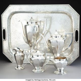 A Six-Piece Barbour Silver Co. Silver Coffee and Tea Set, Meriden