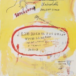 After Jean-Michel Basquiat  Supercomb. exhibition poster, 1988 Offset