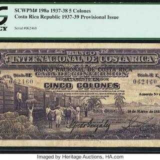 Costa Rica Banco Nacional 5 Colones 10.3.1937 Pick 198a PCGS Very Fine 20. ...