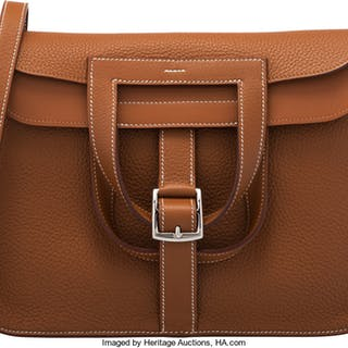 Hermès 31cm Gold Clemence Leather Halzan Bag with Palladium Hardware