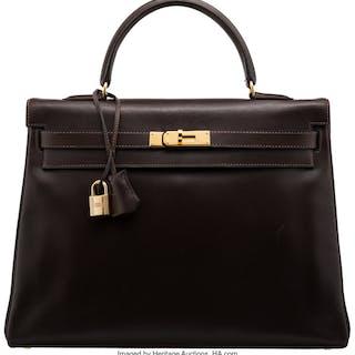 Hermès 35cm Chocolate Calf Box Leather Retourne Kelly Bag with Gold