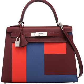 Hermès Limited Edition 28cm Rouge H Sombrero Leather Lettre E Kellygraphie