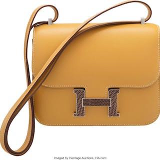 Hermès 18cm Pialle Tadelakt Leather & Ficelle Lizard Double Gusset