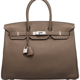 Hermès 35cm Etoupe Grey Clemence Leather Birkin Bag with Palladium