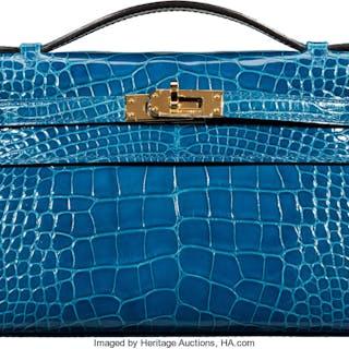 Hermès Shiny Mykonos Alligator Kelly Pochette Bag with Gold Hardware